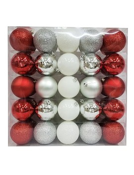 50ct Ornament Set 70mm Red/White/Silver   Wondershop™ by Shop This Collection