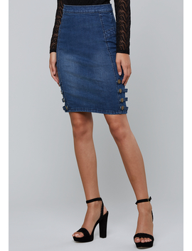 Laena Denim Pencil Skirt by Bebe
