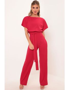 Red Tie Waist Jumpsuit by I Saw It First