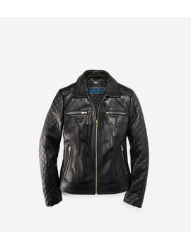 Shirt Collar Smooth Quilted Leather Jacket by Cole Haan