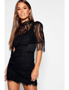Petite Cord Lace Tassel Sleeve Bodycon Dress by Boohoo