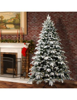 The Holiday Aisle Snowy Avalanche 7.5' White/Green Fir Trees Artificial Christmas Tree With Led Colored And White Lights & Reviews by The Holiday Aisle