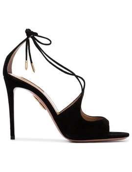 Black Sofia 105 Suede Sandals by Aquazzura