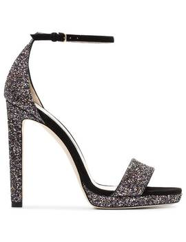 Black And Metallic Silver Misty 120 Leather Sandals by Jimmy Choo