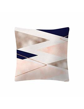 Anglewolf Rose Gold Pink Cushion Cover Square Pillowcase Home Decoration Covers Pillow Slip Car Sofa Home Pillowcases Hidden Zipper No Insert Brief Decor Couch Sofa Geometric Prints,45x45cm(E) by Anglewolf Home Decor