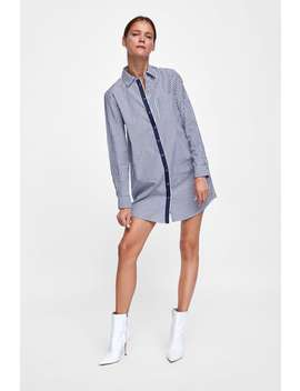 Shirt Dress With Taping  Special Priceswoman by Zara