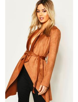 Petite Suedette Waterfall Duster Coat by Boohoo