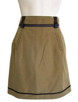 Z Spoke Zac Posen Ny Striped Skirt Tan Black Pencil Wiggle Silk Xs S 0 2 4 8 by Zac Posen