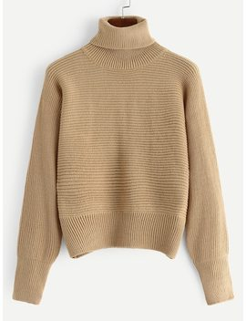 Turtle Neck Solid Jumper by Shein