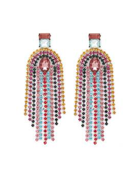 Multicolor Faux Gem Fringe Drop Earrings by Forever 21