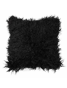 Tiao Bug Faux Fur Cushion Covers,Deluxe Home Decorative Super Soft Plush Mongolian Faux Fur Throw Pillow Cover Sofa Cushion Case Black 18 X 18 Inches by Tiao Bug