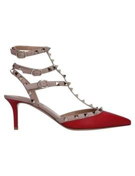Red Rockstud Cage Heels Pumps by Valentino