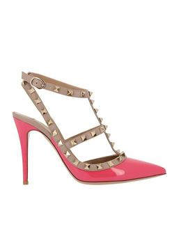 Rosa Pink Patent Leather Rockstud Pumps by Valentino