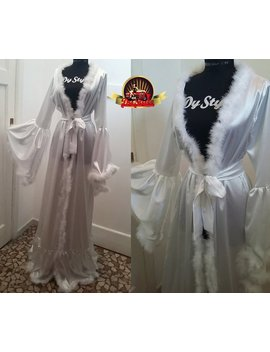 White Satin Bridal Dressing Gown by Etsy
