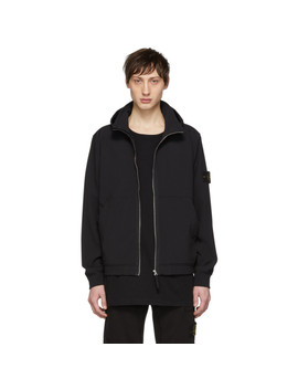 Black Hooded Short Jacket by Stone Island