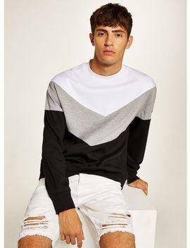 Black Chevron Panel Sweatshirt by Topman