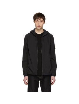 Black Nylon Rain Jacket by Stone Island