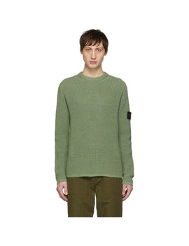 Green Rib Knit Logo Badge Sweater by Stone Island
