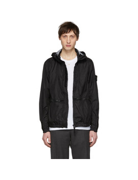 Black Zip Hooded Jacket by Stone Island