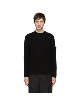 Black Rib Knit Logo Badge Sweater by Stone Island