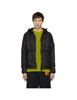 Black Ripstop Quilted Hooded Jacket by Stone Island