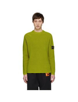 Yellow Rib Knit Logo Badge Sweater by Stone Island