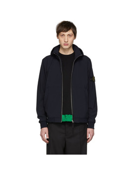Blue Hooded Short Jacket by Stone Island