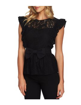 Ruffled Statement Shoulders Romantic Lace Belted Blouse by Ce Ce