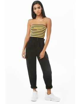 Pleat Front High Waist Pants by Forever 21