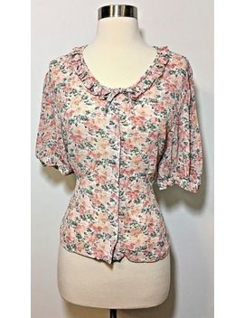 Vintage Laura Ashley Pink Floral Print Button Front Blouse Top Women's Size 12 by Laura Ashley