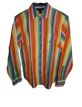 Vintage Retro Women's Ralph Lauren Shirt Size L Large 100 Percents Cotton Striped by Ralph Lauren Polo