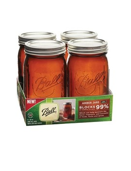 Ball 32oz 4pk Amber Jars Wide Mouth by Ball