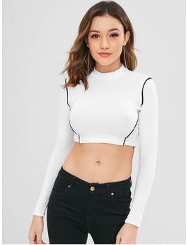 Piping Cropped Tee   White M by Zaful