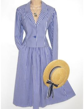 Laura Ashley Vintage 1987 Seaside Blue/White Stripe Skirt & Jacket Suit, 10/12 by Laura Ashley