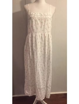 Vintage Laura Ashley Cotton White Slip Dress Lace Accent Medium Boho Hippie by Laura Ashley