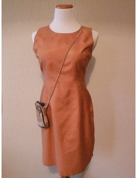 Orange Raw Silk Dress   Size 8   Vintage by Etsy
