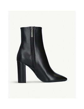 Loulou 95 Leather Ankle Boots by Saint Laurent