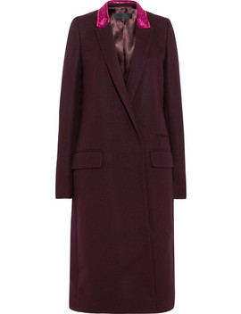 Velvet Trimmed Wool Blend Coat by Haider Ackermann