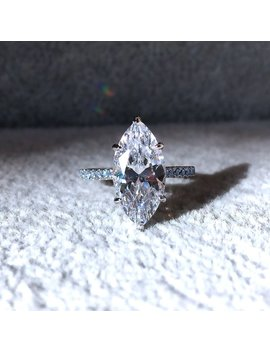 3 Carat Marquise Cut Engagement Ring In 18k White Gold Vermeil Blue Diamond Simulant Wedding Ring Promise Ring Anniversary by Etsy