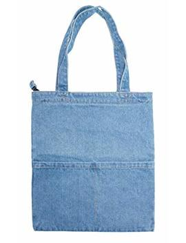 Yunzh Canvas Bag Denim Tote Shoulder Handbag Shopping School Travel Pockets by Yunzh