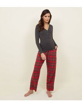Red Tartan Brushed Cotton Pyjama Bottoms by New Look