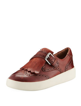 Brea Leather Wing Tip Kiltie Skate Sneakers by Frye