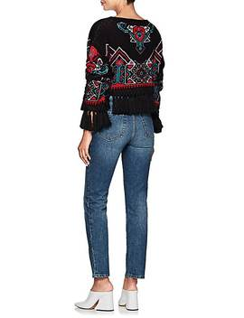 Fringed Intarsia Knit Crop Sweater by Philosophy Di Lorenzo Serafini