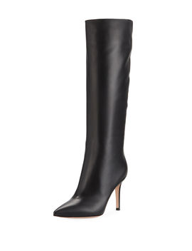 Point Toe Leather Mid Calf Boots by Gianvito Rossi