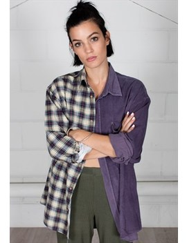 Vintage Corduroy Checked Flannel Reconstructed Unisex Shirt by Cosmic Saint