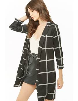 Grid Open Front Longline Jacket by Forever 21