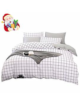 Bu Lu Tu Teen Men Duvet Cover Set Queen White/Grey Egyptian Cotton,Plaid Gingham Print 3 Pieces Kids Bedding Sets Full Comforter Cover Zip Zipper,Super Soft,Lightweight,Modern,Hotel Quality,No Comforter by Bu Lu Tu
