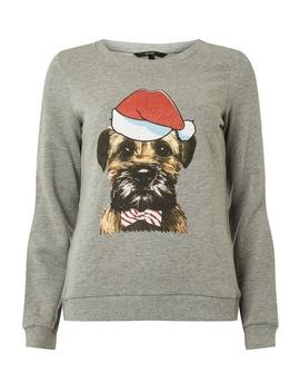 **Vero Moda Grey Dog Christmas Jumper by Dorothy Perkins