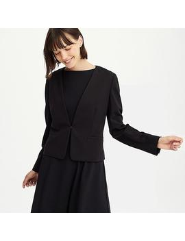 Women Ponte Knit Collarless Open Blazer Jacket by Uniqlo
