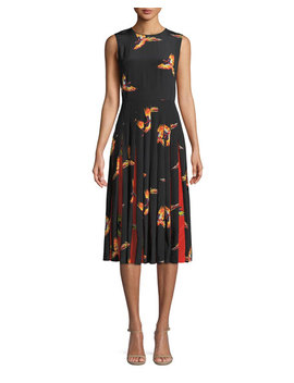 Talita Bird Print Silk Pleated Sleeveless Dress by Diane Von Furstenberg